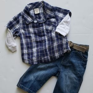 Flannel and denim set